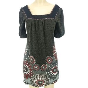Aryeh Gray/Black Floral Square-Neck Sweater Dress